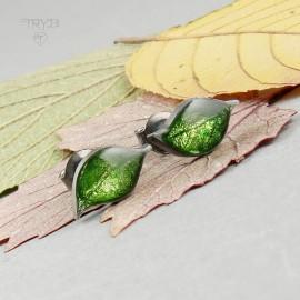 Malutkie sztyfty zielone listki w srebrze oksydowanym