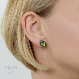 Little green leaves studs in oxidised silver