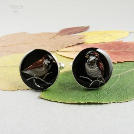 Cufflinks with sparrows of watch elements