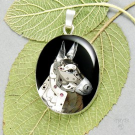 Silver pendant with a donkey sculpture of watch parts