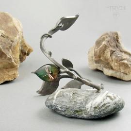 Bransoletka gałązka z listkami i mechanicznymi ważkami ze srebra