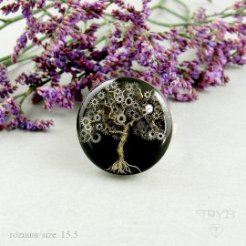 Sterling silver ring with a steampunk tree hand sculpted of watch gears