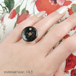 Steampunk Solar System ring made from sterling silver and watch parts