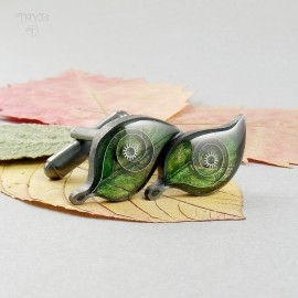 Green leaves cufflinks hand made of oxidised silver