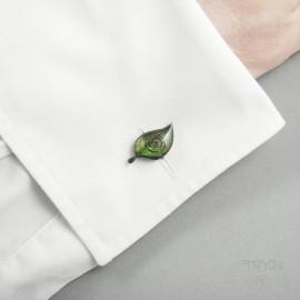 Naturalne spinki do mankietów w kształcie liści ze srebra