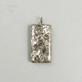 Prostokątny wisiorek srebrny