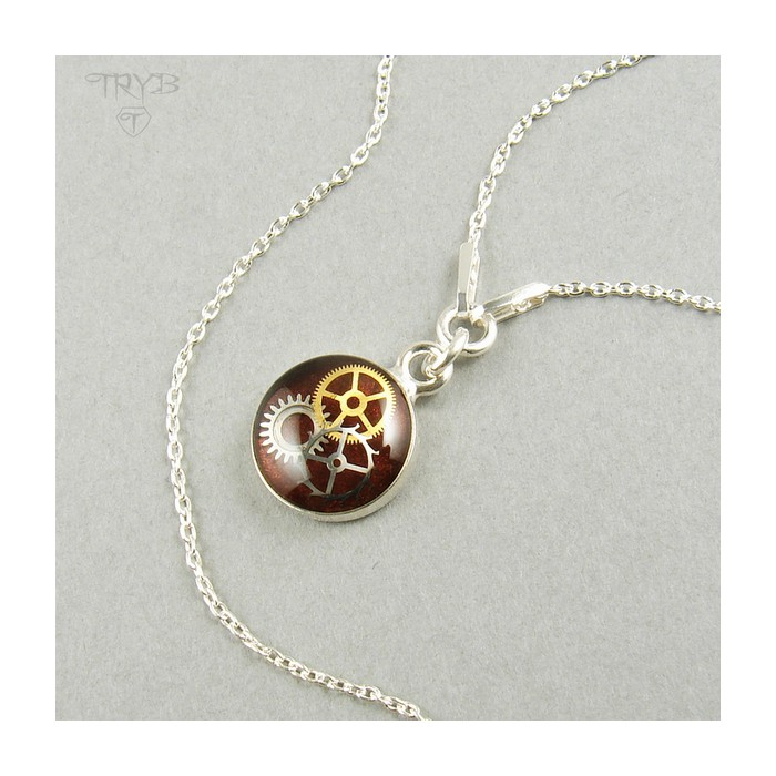 Burgundy necklace from silver and watch gears