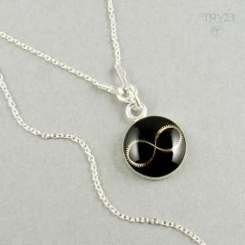 Srebrny naszyjnik celebrytka infinity z trybika zegarka