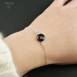 Women's bracelet with rhinestone and watch parts