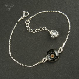 """Cosmic"" sterling silver bracelet with rhinestone and watch parts"