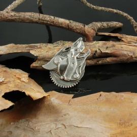 Srebrny wisiorek wilk wyjący