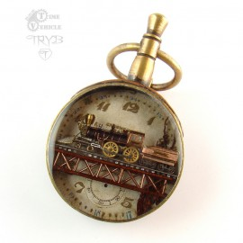 Steampunk pendant with locomotive W. Crooks