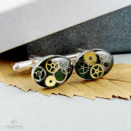 Sterling silver cufflinks with watch gears in green