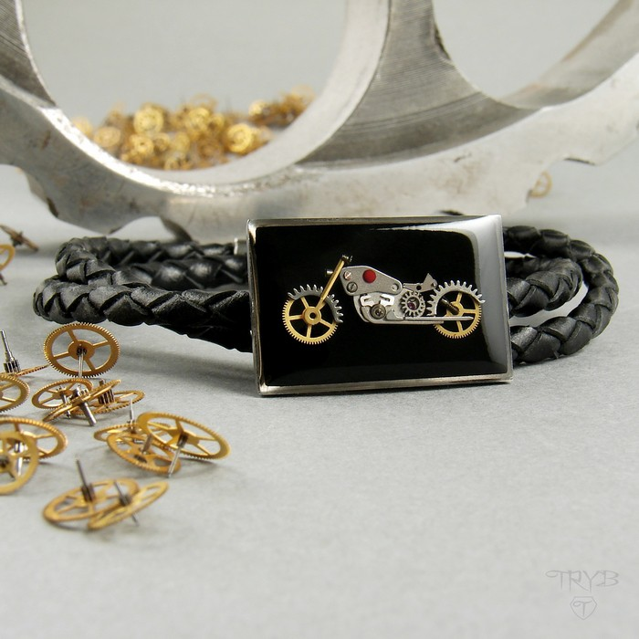 Motorcycle men's bracelet on a braided thong