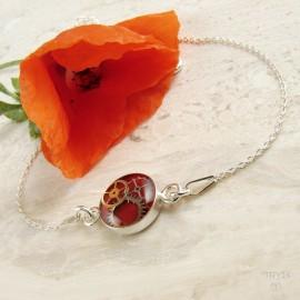 Czerwona bransoletka celebrytka ze srebra i trybików zegarków