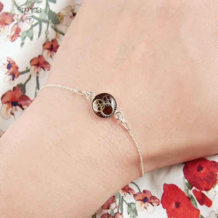 Sterling silver celebrity bracelet burgundy cogs