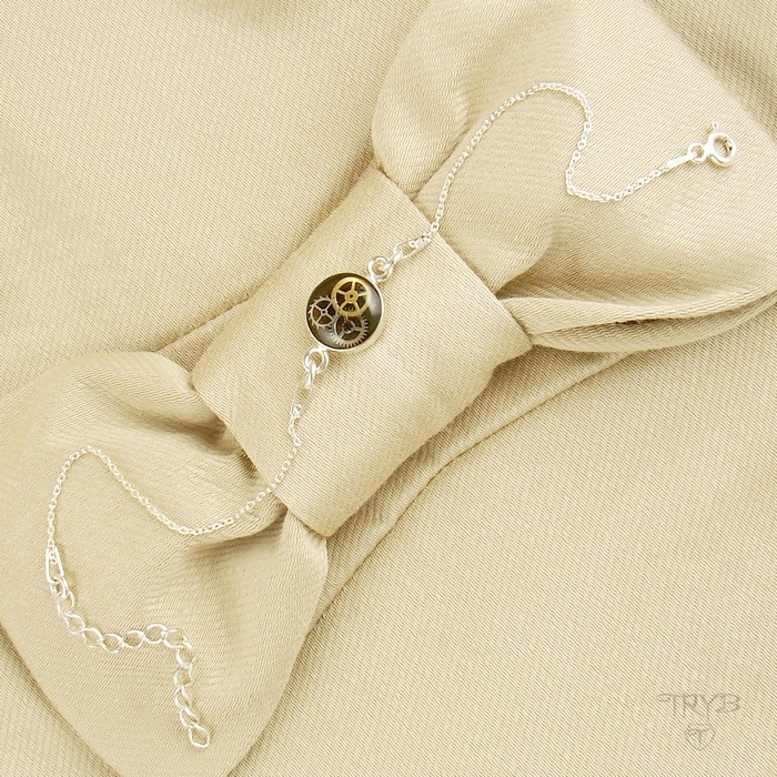 Silver celebrity bracelet khaki cogs