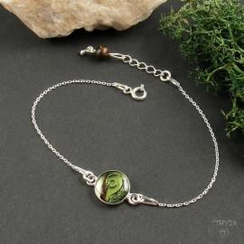 Sterling silver celebrity bracelet with floral composition