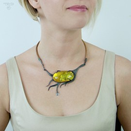 oxidized silver necklace with natural amber