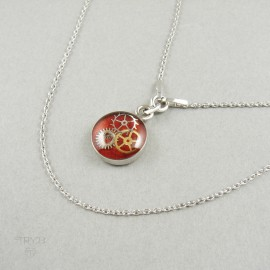 Red sterling silver necklace with watch gears