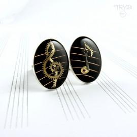 Muzyczne spinki do mankietów ze srebra i części zegarków