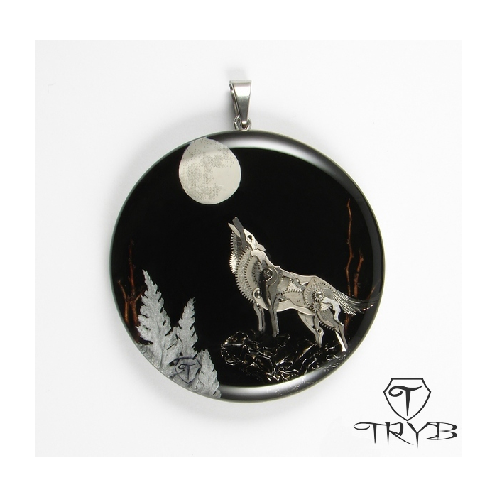 Hand made pendant with wolf sculpture of watch parts