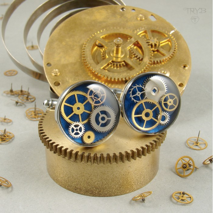 Navy blue cufflinks with cogs