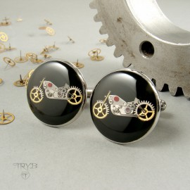 Steampunk motorcycles cufflinks