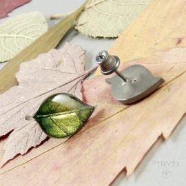 Kolczyki liście ze srebra