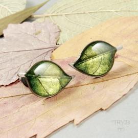 Hand made silver earrings leaves