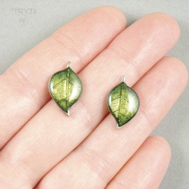 Zielone liście sztyfty ze srebra oksydowanego