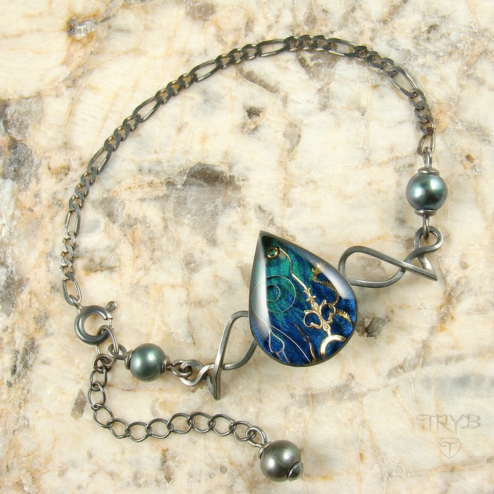sea inspired sterling silver bracelet