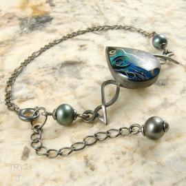 oxidized silver bracelet with pearls
