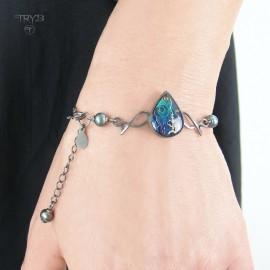 Piękna bransoletka z oksydowanego srebra z perłami naturalnymi