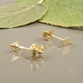 Małe kolczyki listki ze złota