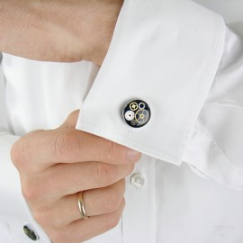 Elegant cufflinks with watch gears
