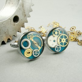 Quality steampunk cufflinks with watch gears