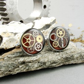 Maroon cufflinks with gears