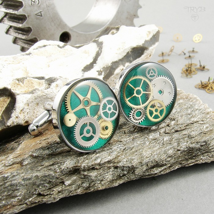 Turquoise cufflinks with gears