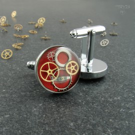 Red steampunk cufflinks