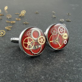 Red cufflinks with gears