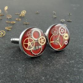 Czerwone spinki do mankietów z trybami