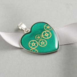 Steampunk heart pendant of sterling silver