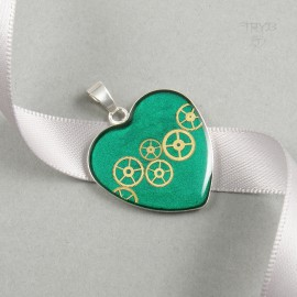 Steampunk heart pendant of...