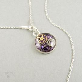 Fioletowy naszyjnik celebrytka ze srebra z prawdziwymi trybikami z zegarków