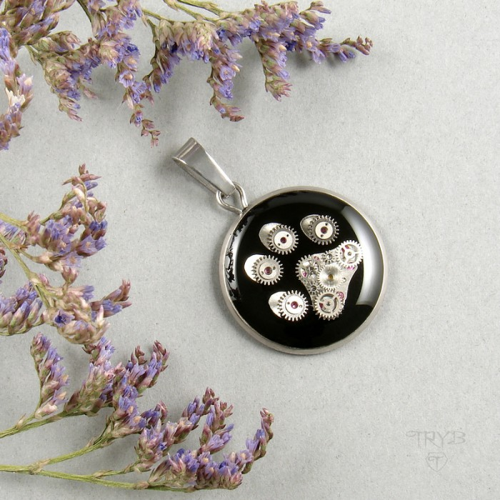 Stainless steel pendant with dog paw of watch parts