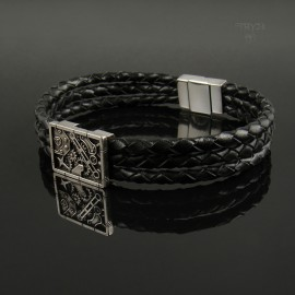 Sterling silver men's bracelet on a braided thong