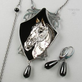 Art nouveau horse necklace of silver and watch parts