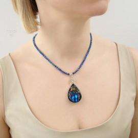 Ręcznie robiony, niebieski naszyjnik artystyczny ze srebra, kamieni i części zegarków