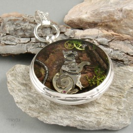 Miniature steampunk sculptures of watch parts